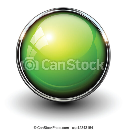 Grüner glänzender Knopf - csp12343154