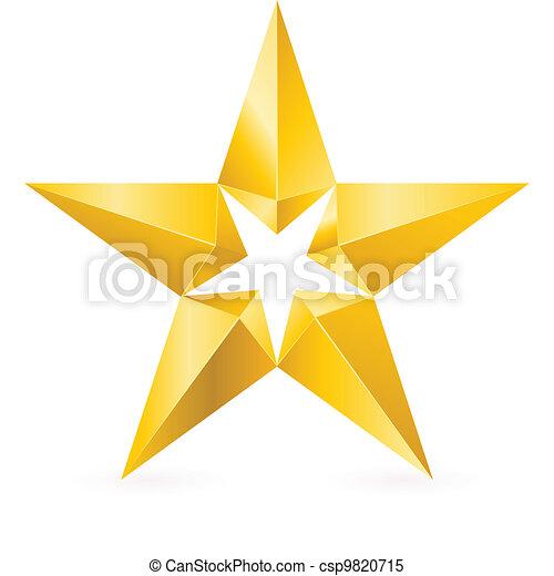 glänzend, stern, gold - csp9820715