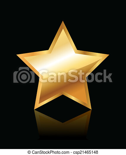 glänzend, stern, gold - csp21465148