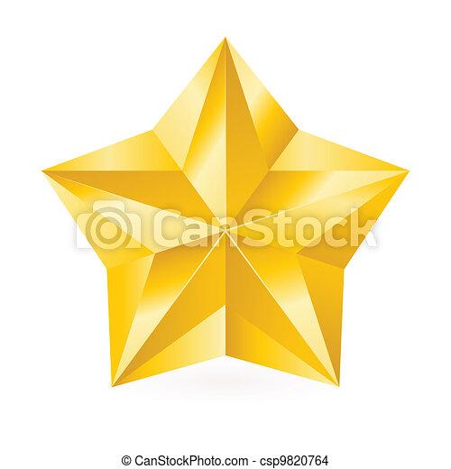 glänzend, stern, gold - csp9820764