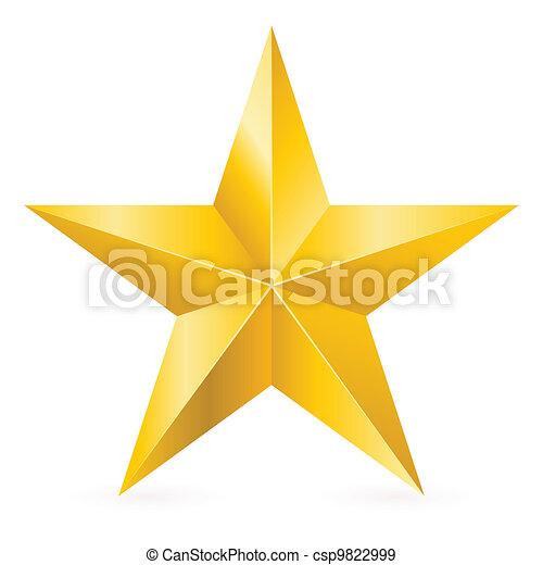 glänzend, stern, gold - csp9822999