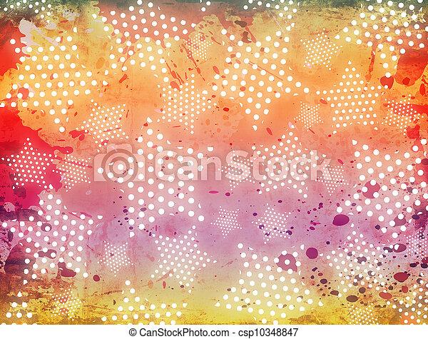 glödande, grunge, bakgrund, stjärnor - csp10348847