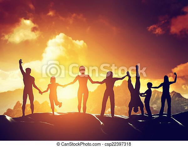 glücklich, gruppieren zusammen, leute - csp22397318