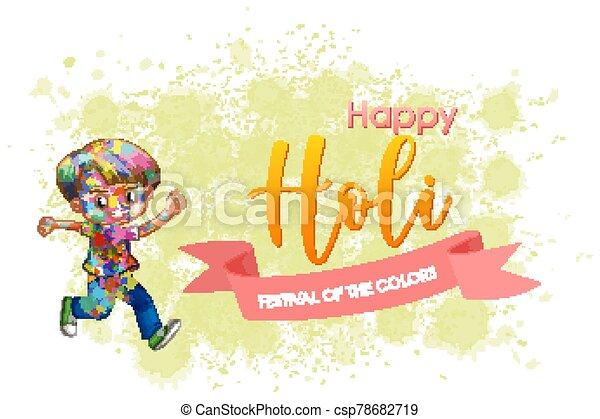 glücklich, holi, plakat, hintergrund, fest, bunte, design - csp78682719