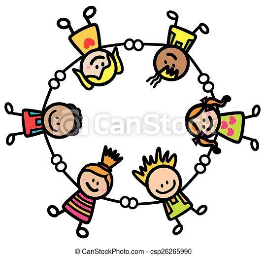 Glückliche Kinder, die Hand halten - csp26265990