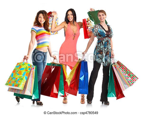 Fröhliche Einkaufsleute. - csp4780549