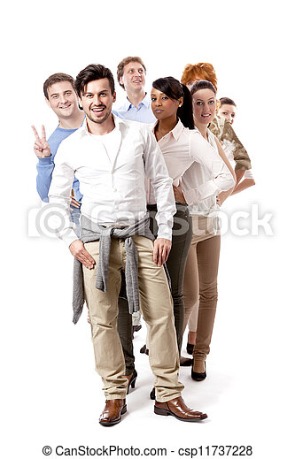 glücklich, mannschaft, gruppe, geschäftsmenschen - csp11737228