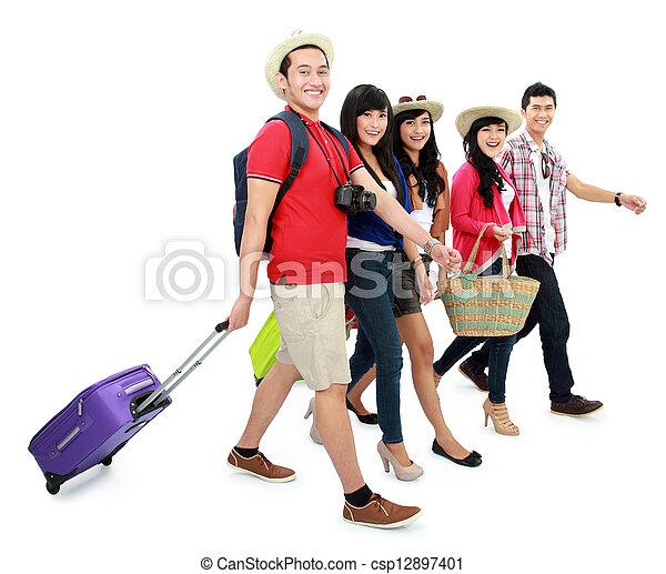 glücklich, touristen, teenager - csp12897401