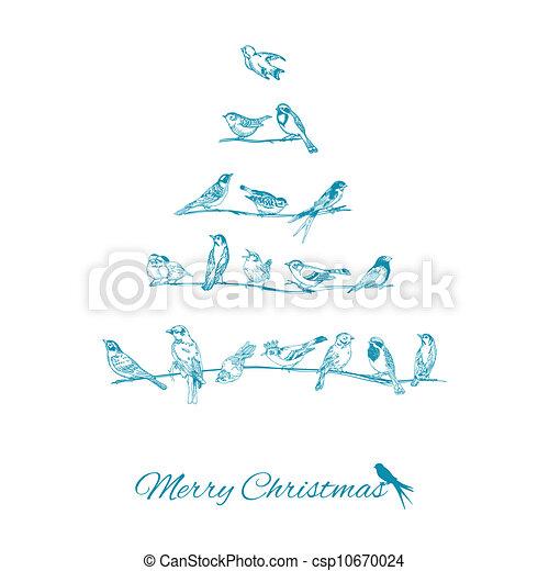 glückwunsch, baum, -, weihnachten, einladung, vektor, vögel, karte - csp10670024
