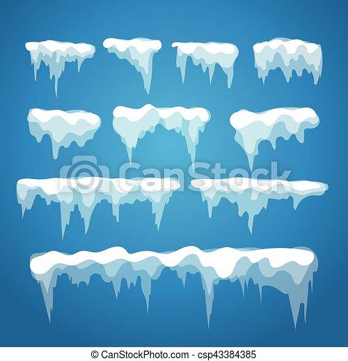 glaçon, vecteur, neige, éléments, casquette, isolé, bleu, différent, arrière-plan. - csp43384385