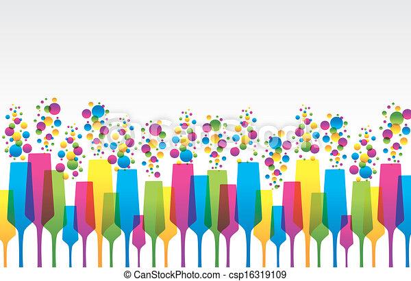 gla, coloreado, creativo, champaign, mezcla - csp16319109