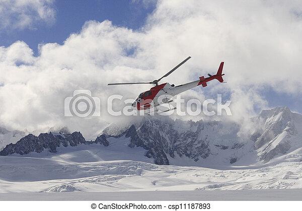 glacier, hélicoptère, voler - csp11187893