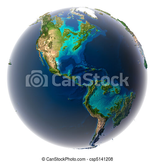 Glaciers melted, the amount of water in the oceans has increased and they have flooded the continents. Fantastic prediction of possible future. Earth on a white background - csp5141208