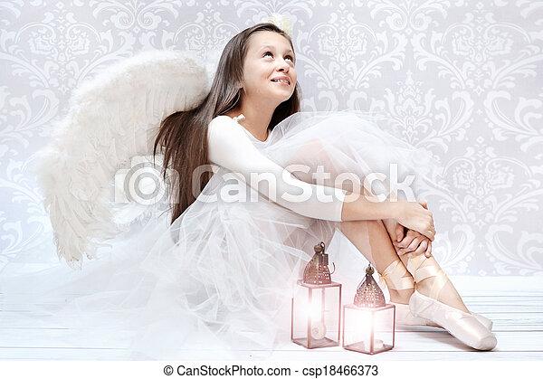 Glad ballet dancer after performarnce - csp18466373