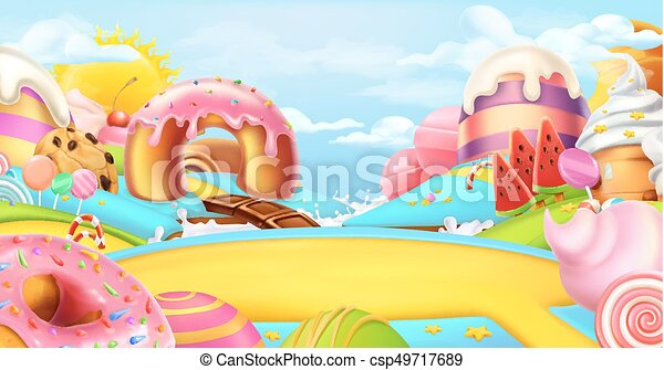 Glade in a candy land sweet landscape 3d vector panorama for Sweet home 3d italiano