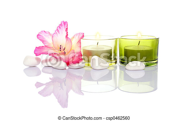 gladiola, candles and river stones - csp0462560