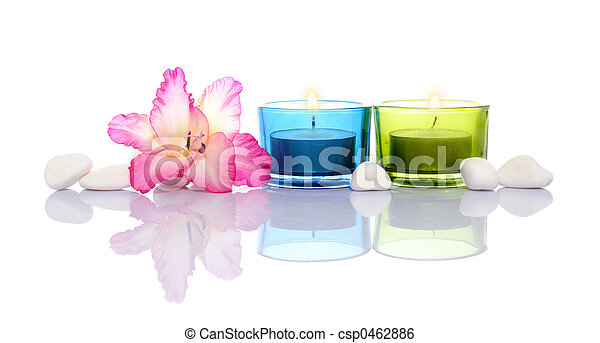 gladiola, candles and white river stones - csp0462886