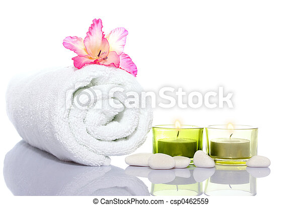 gladiola, white towel, candles and white river stones - csp0462559