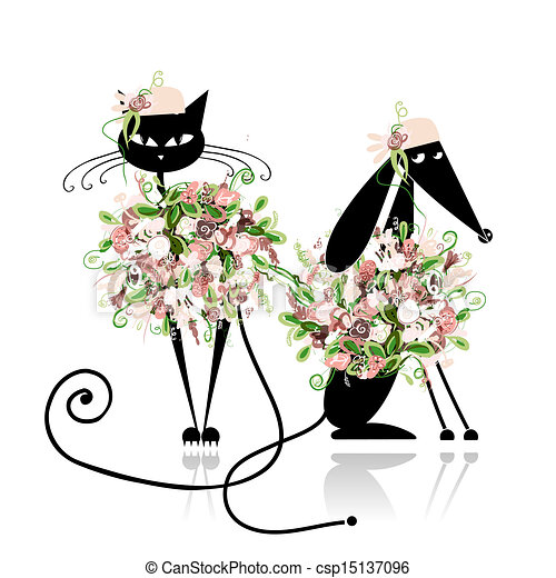 Glamor cat and dog in floral clothes for your design - csp15137096