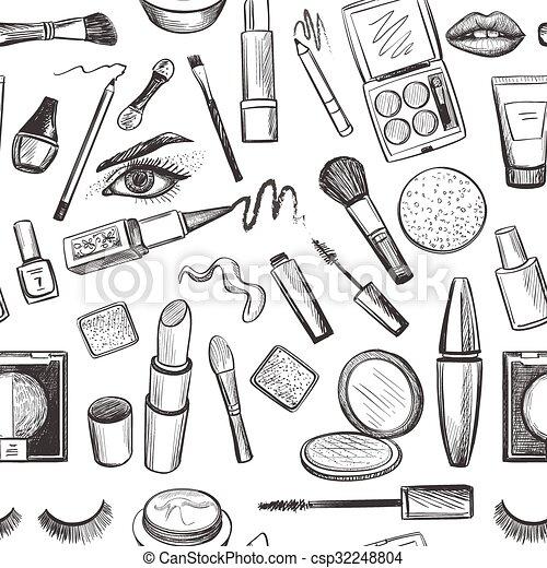 Glamorous make-up seamless pattern - csp32248804