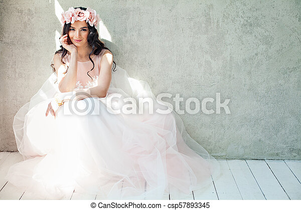 Glamorous Woman Fashion Model With Makeup And Long Hair Girl In Pink Dress On Gray Banner Background
