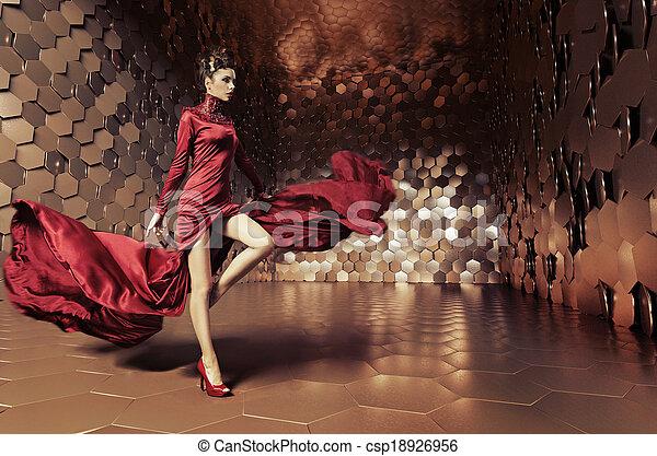 Glamorous woman with wavy dress - csp18926956