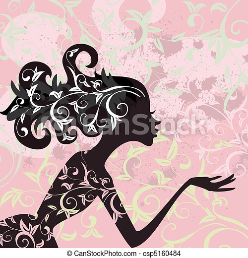 glamour, cabelo, menina, ornamento - csp5160484