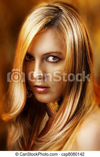 glamour, excitado, mulher, moda, retrato - csp8080142