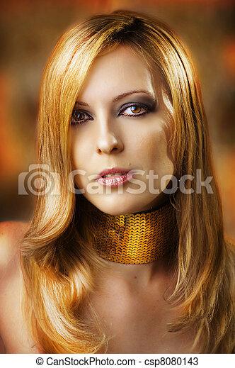 glamour, excitado, woman., moda, retrato - csp8080143