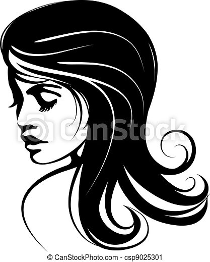 glamour girl with black hairs - csp9025301