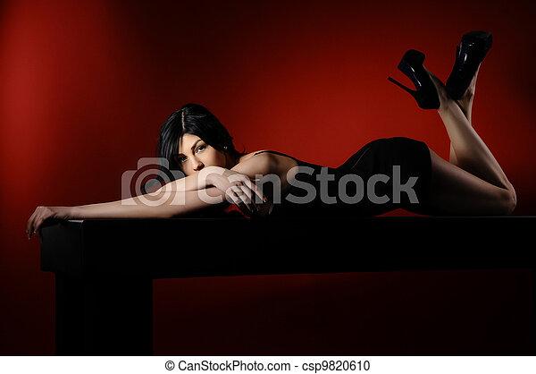 glamour, hairstyle., cabelo longo, pretas, excitado, mulheres - csp9820610