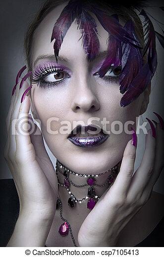 glamour, retrato, mulher, moda, retro - csp7105413