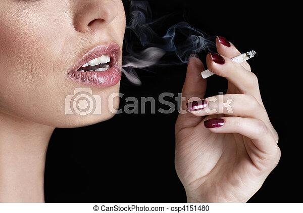 glamour smoking girl - csp4151480