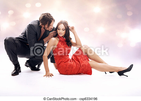 Glamour style photo of attractive couple - csp6334196