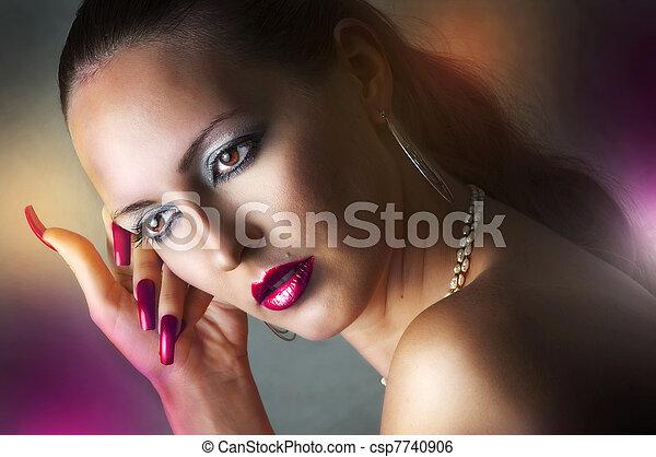 glamour, verticaal, model, vrouw, beauty - csp7740906