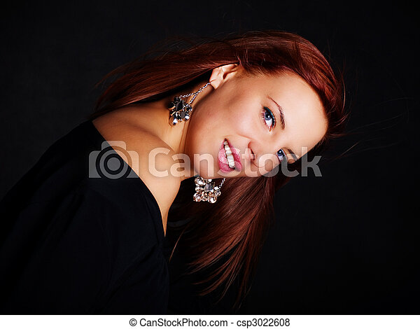 glamour woman in red hair - csp3022608