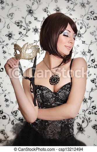 Glamourous retro brunette - csp13212494