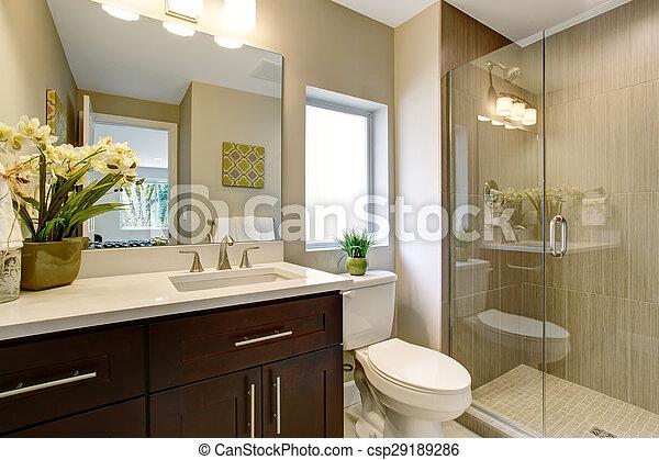 Glas, badezimmer, shower., nett. Betriebe, badezimmer, dusche, glas ...