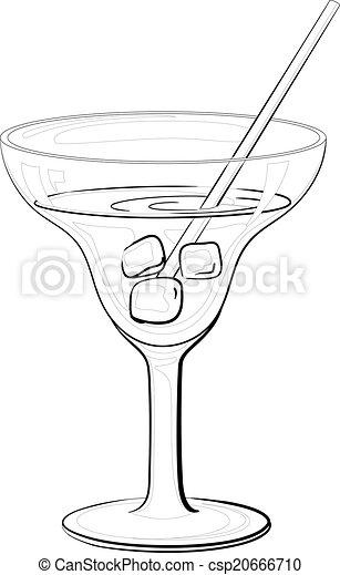 Glas, getränk, schwarz, konturen, eis. Getränk, würfel,... Vektor ...