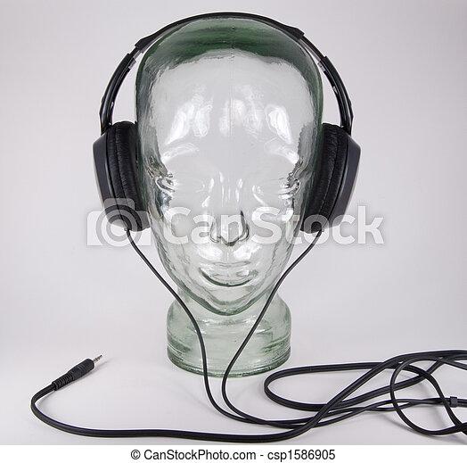 glashuvud till hörlurar
