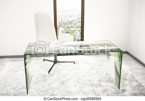 Glas kamer tafel. stad kamer render vloer glas tafel