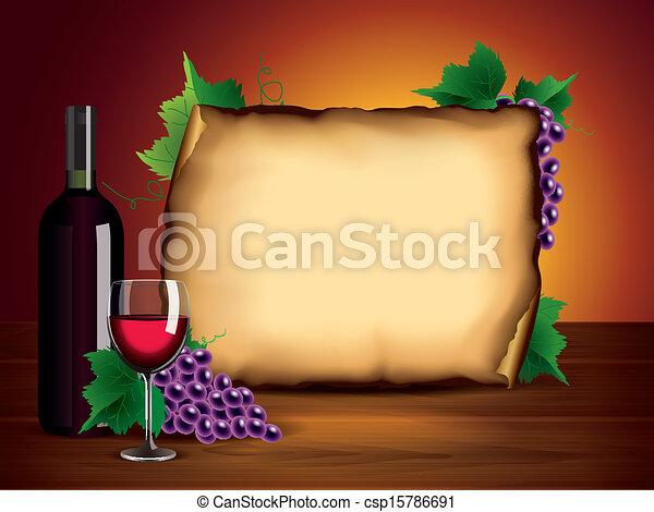 glas, papier, druiven, leeg, fles, wijntje - csp15786691