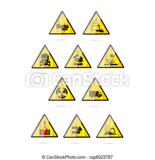 Glass And Clear Danger Symbols Set Isolated