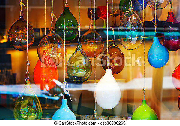 Glass balls marbles abstract colored mix in the shopwindow - csp36336265