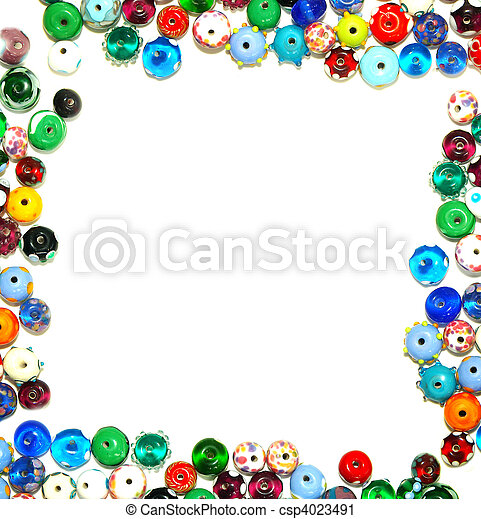 glass beads forming a border - frame, with white for text - csp4023491