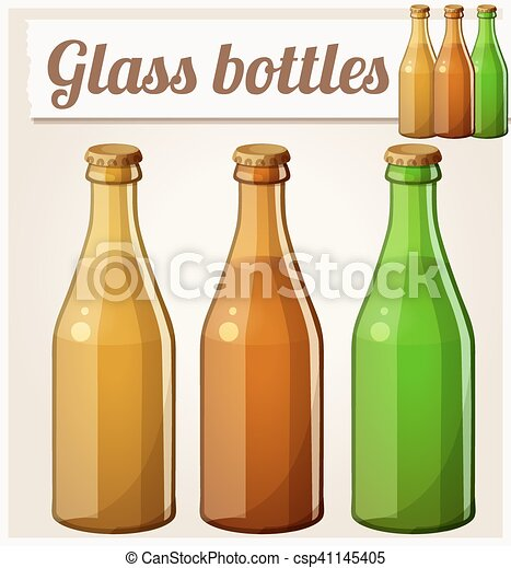 Glass bottles without label. Detailed vector icon - csp41145405
