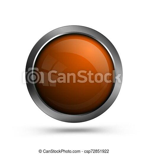 Glass button orange color. - csp72851922