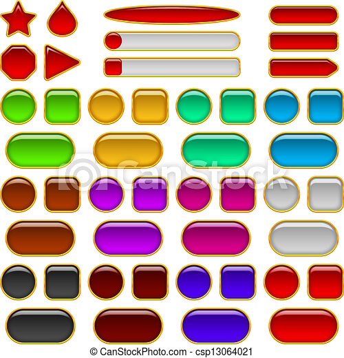 Glass buttons of various colors, set - csp13064021
