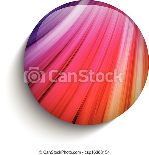 Glass Circle Button Colorful Neon Waves - csp16388154