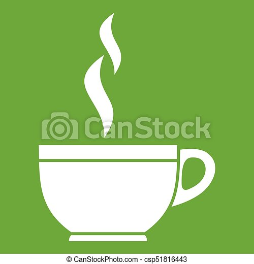 glass cup of tea icon green glass cup of tea icon white isolated on green background vector illustration can stock photo